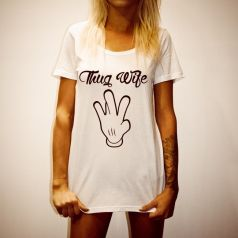 THUG WIFE WOMENS WHITE TEE
